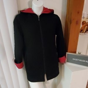 Gallery Reversible quilted long jacket with hood